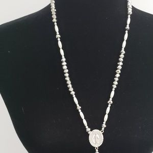 Rosary Necklace-Silver